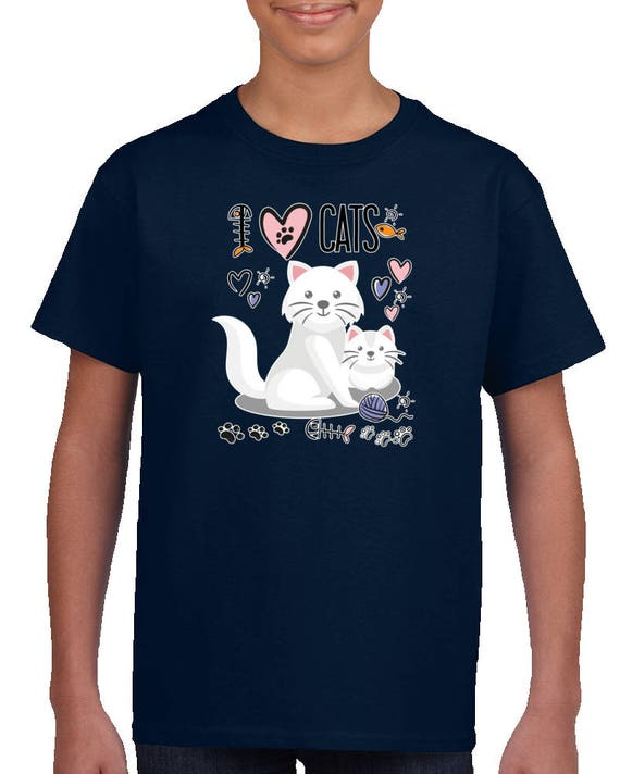 I Love Cats Kids T-shirt, I Heart Cats Kids Shirt, I Love Cats Blue Shirt, Cat Shirt, Cat Tee For Kids, Cat Print Shirts, I Heart Cats Shirt