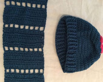 Ladies rich blue hat and scarf