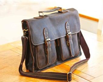 Handmade Distressed Laptop Bag, 15 Inch Leather Laptop Bag, Vintage Mens Laptop bag, Mens Bag, Mens Laptop Bag, Camera Bag, DSLR Bag