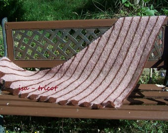 hand knitted shawl old mohair pink and chocolate