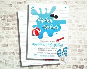 Splish Splash Pool Party /Birthday Invitation