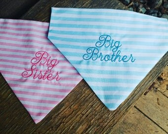 Dog Bandana, Gender Reveal, slide on bandana, pet accessory, dog lover, big brother, big sister, it's a boy, it's a girl