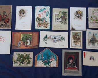 15 Nice Antique Art Deco Christmas Cards Vintage Holiday Greetings Lot