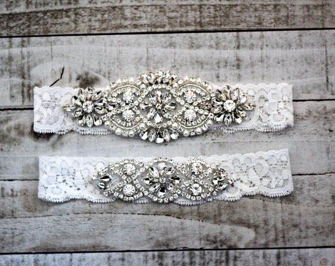 SALE - White Lace Wedding Garter Set, bridal garter set, vintage rhinestones, pearl and rhinestone garter set