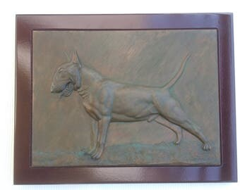 Bull terrier  picture. Galvanized copper with patina in wood frame.