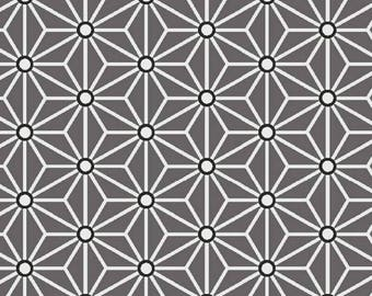 Fabric grey Saki - size for 1 quantity of 50 cm x 160 cm - asanoha - 100% cotton