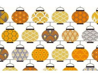 Fabric Chinese lanterns, yellow, fabric Chinese lanterns - 1/2 meter