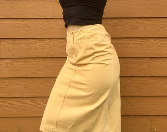 Knee-Length Mustard Yellow Skirt