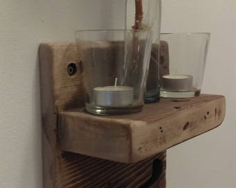 Space saving rustic single hook shelf, in a distressed barn wood finish