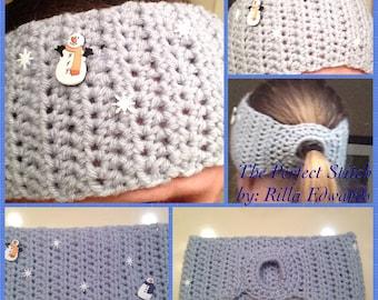 Snowflake Ponytail Headband/Ear Warmer