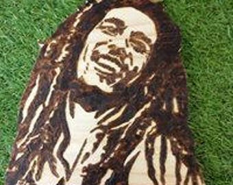 Bob Marley pyrography picture