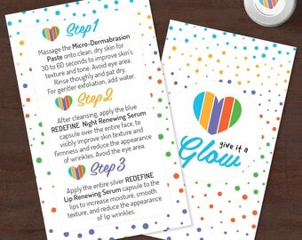 Rodan and Fields Mini Facial Cards, Instant Download, Give it a glow, RF Mini Facial, Facial Instructions, Microdermabrasion