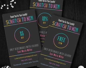 Lula Scratch Off Cards, Fast Free Personalize, Home Office Approved (Fonts & Colors), Scratch To Win, For LLR Fashion Retailer