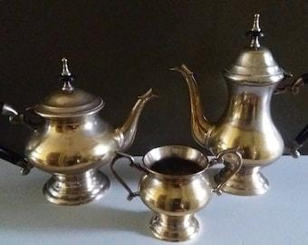 EPNS silver plate teapot, coffee pot, sugar bowl, Bakelite handles, vintage, retro