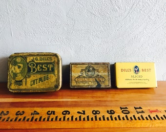 Dill's Best Tobacco Tins, Vintage Pipe Tobacco Tins