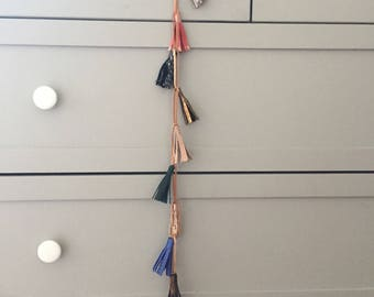 Leather Garland - Tassels - Random Colors - Swag - From 1 meter to Infinity - Kids Christmas Wedding Decor - Handmade in Argentina