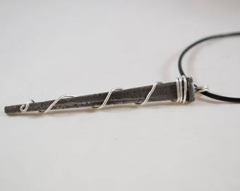 """Antique Vintage Iron """"Coffin"""" Woodworking Nail Sterling Silver Macabre Gothic Necklace"""