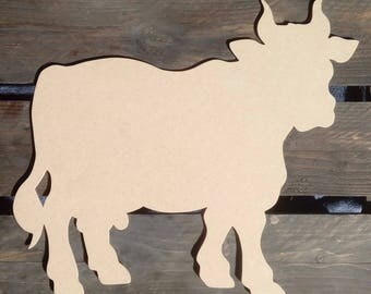 Cow silhouette wood scalloped paint medium