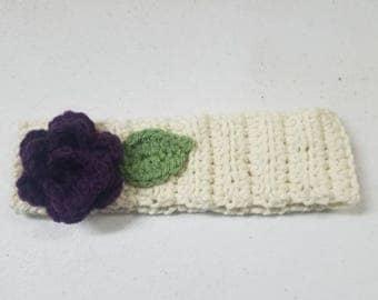 Purple Rose Crochet Baby Headband 1-3 years