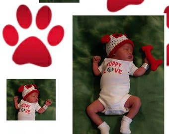 Infant Boys/Girls' Puppy Hat/Puppy Hat&Dog Bone/Puppy Hat w/Onesie/Newborn Puppy Prop Set