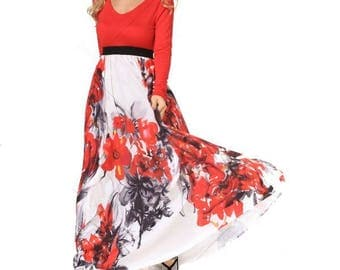Red Maxi Dress, Maxi dresses, red and white dress, long sleeve dress, evening dress