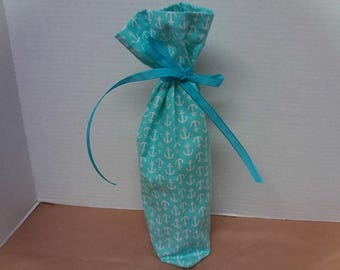 Nautical/Anchor Themed Wine Gift Bag in Teal