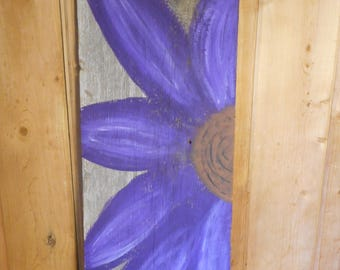 Painted Reclaimed Rustic Wooden Sign Purple Flower Home Decor Barn Wood CUSTOMIZABLE!!