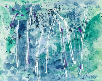 Giclee, abstract art, abstract landscape, green, blue, woodland, vibrant, floral, nature, colorful, dancing, sisters, forest, made to order