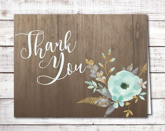 Thank You Card - Blue