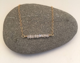 Moonstone Bar Layering Gemstone Necklace on Delicate Gold Chain