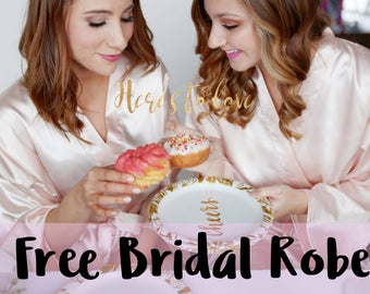 Bridesmaid Robes, Bridesmaid gift, bridesmaid robe, robes, bridal robe, mother of the bride, bachelorette party, bridal party robes,SOLID <3