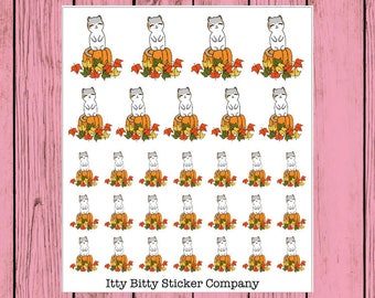 Pumpkin Patch Mauly - Hand Drawn IttyBitty Kitty Collection - Hand Drawn Planner Stickers