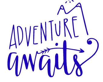 Adventure Awaits Vinyl Decal | Explore | Yeti Cup Decal | Car Window Sticker | Laptop Decal | Mountains | Arrow |