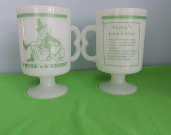 Vintage Irish Coffee Mug Set, Milk Glass, Pedestal Mug,O'Dunk n O'Bright Paddy's Irish Coffee Mug Set of 4,Leprechaun,St. Patrick's Day Mugs