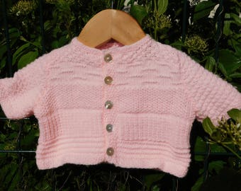 Baby 3 months pink short sleeve Cardigan hand knitted