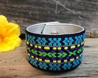 Repurposed Belt Bracelet, Neon Cuff Bracelet, Boho Cuff Bracelet, Hippie Bracelet Cuff, Women's Cuff Bracelet