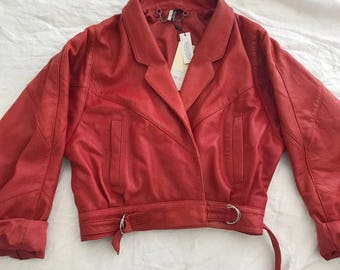 Cropped Red Leather Jacket S / M