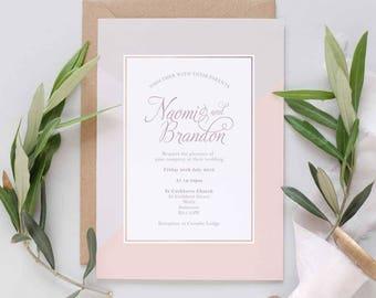 Pink and grey wedding invitation