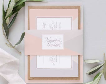 Blush and grey wedding bellyband Invitation package, modern geometric wedding invitation set, wedding invite modern with calligraphy