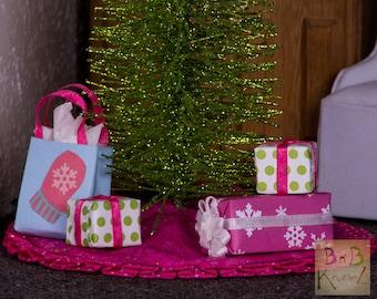 Miniature Christmas Presents (Pink, Blue, & Green) -- Dollhouse Miniature 1:12 Scale