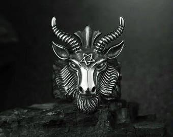 Ring Man BAPHOMET, pagan jewlery, pagan