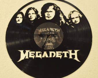 Megadeth themed Vinyl Album Record Clock made in the > USA < with FREE Shipping!