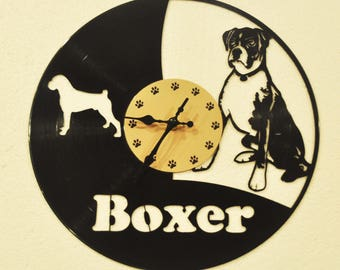 Boxer Dog Pet themed Vinyl Album Record Clock made in the > USA < with FREE Shipping!