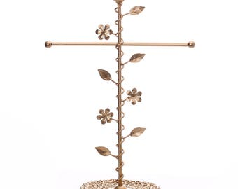 Ikee Design Matte Gold Color T-bar Jewelry Stand Organizer Storage with A Bird (SKU# COP3700)