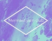 Mermaid yarn club. Mermaid themed yarn and handmade progress keeper.