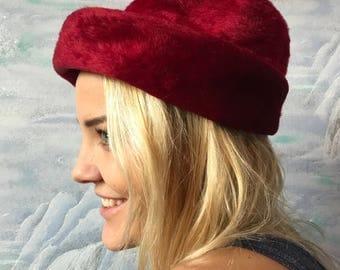 Red Velvet Hat Elegant Vintage Fedora Hat Bowler Style Hats Gift for Her Birthday Present Small size Hat