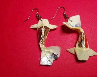 "Earrings ""carp"" white - silver hook (CAR_011)"