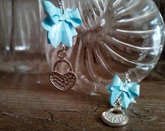 """Bows"" blue (NOD_003) heart charm earrings"
