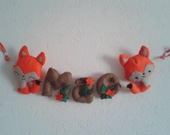 Guirlande theme renard et automne aux couleurs vives