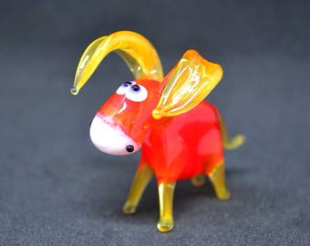 Orange Glass Donkey - Christmas Toy - Collectible Figure - Animal Statue - Small Gift Decoration - Murano Figurines - Xmas Miniature - Ornam
